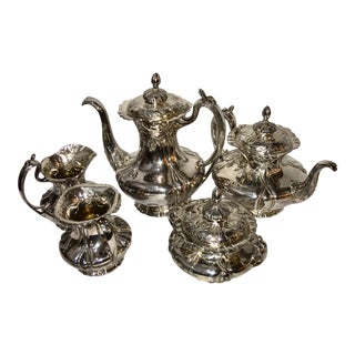 1960's Vintage Pathpoint Quadruple Silver Plate Tea Set- 5 Pieces For Sale