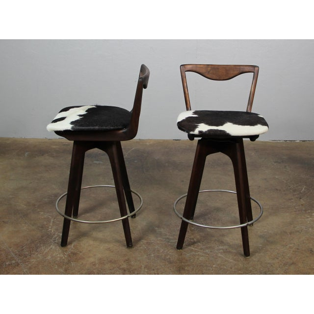 Black Mid Century Danish Swivel Bar Stools- A Pair For Sale - Image 8 of 8