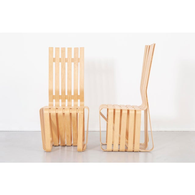 """set of six High Sticking chairs designed by Frank Gehry for Knoll USA, c 1992 - 93 maple 43 ½"""" h x 20 ¼"""" w x 23 ¾"""" d x 17..."""
