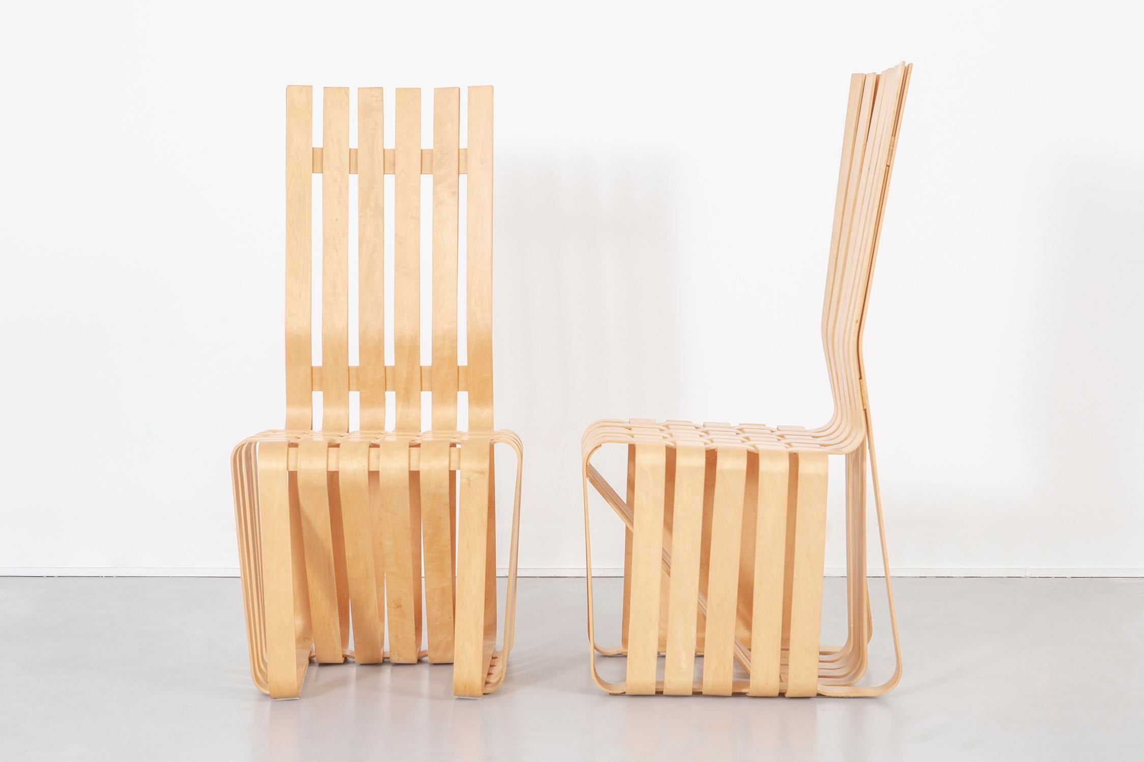 Set Of Six High Sticking Chairs Designed By Frank Gehry For Knoll USA, C  1992