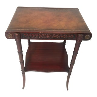 Vintage Regency Mahogany Two Tiered Carved Table With Rolled Leather Top For Sale