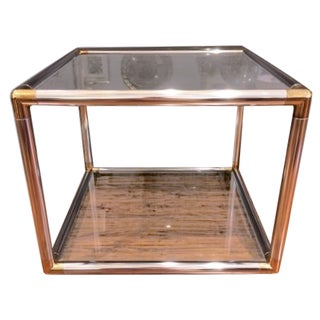 Vintage Modern Chrome & Brass Coffee Table For Sale