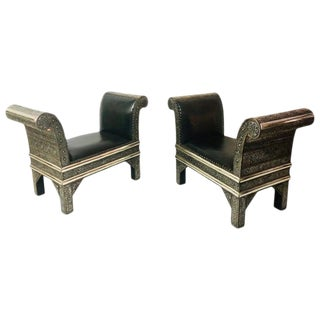 1980s Vintage Hollywood Regency Benches- A Pair For Sale