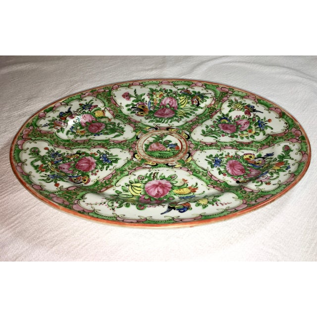 Green 19th Century Chinese Rose Medallion Platter For Sale - Image 8 of 9