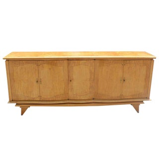 1940s French Art Deco Sycamore Long Sideboard / Buffet For Sale
