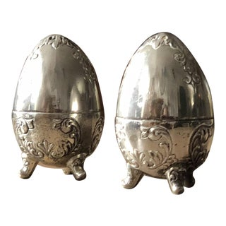 Silver Mid-Century Egg Salt & Pepper Shakers - A Pair