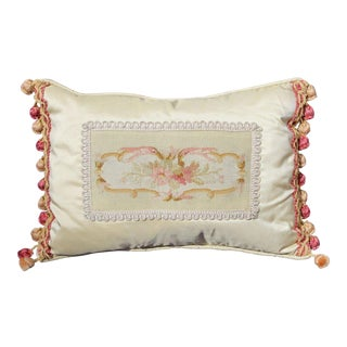 19 C. French Aubusson Silk Pillow For Sale