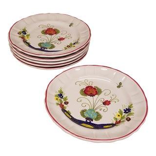 1960s Vintage Italian Faience Dinner Plates - Set of 6 For Sale