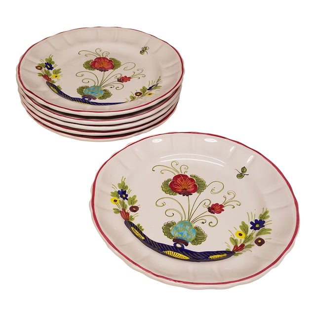 1960s Vintage Italian Faience Dinner Plates - Set of 6 For Sale