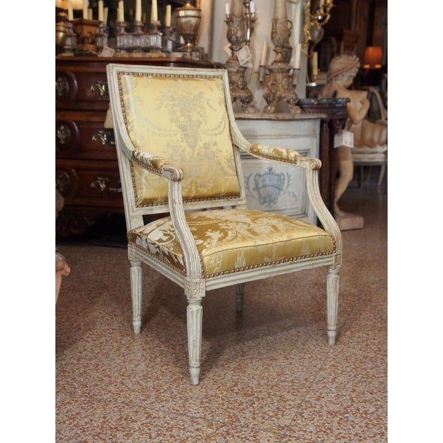 French 18th Century Painted Louis XVI Armchair For Sale - Image 3 of 11