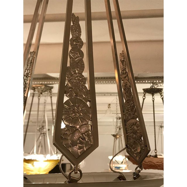 French Art Deco Geometric Chandelier Signed by Schneider For Sale - Image 9 of 10