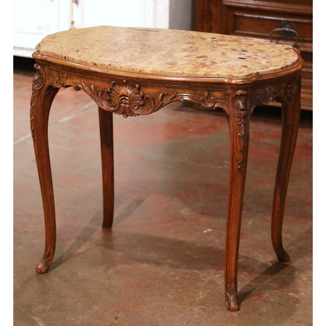 19th Century French Louis XV Carved Oak Side Table With Beige Marble Top For Sale - Image 13 of 13