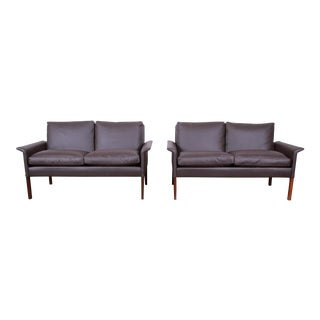 Hans Olsen Danish Modern Rosewood and Leather Settees, Fully Restored For Sale