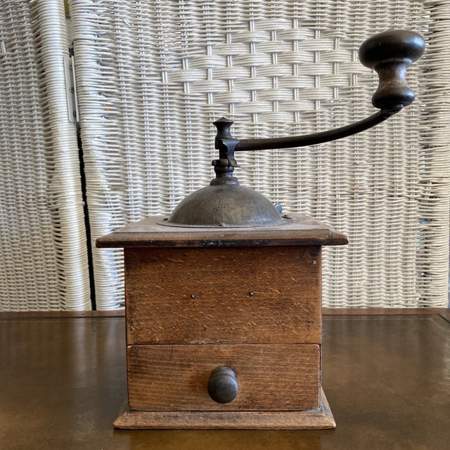 Metal Antique French Coffee Grinder Made by Peugeot For Sale - Image 7 of 7