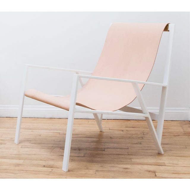 Orange Hampton Light Lounge Chair - White Frame, Natural Leather For Sale - Image 8 of 8