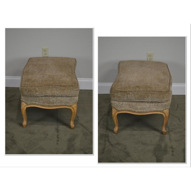 French Louis XV Style Custom Upholstered Wide Seat Bergere Chair With Ottoman For Sale - Image 4 of 13