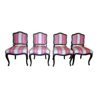 Black Lacquered Louis XV Style Silk Stripe Designer Chairs - Set of 4