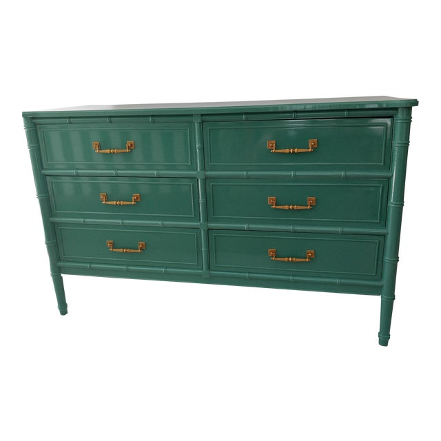 Henry Link for Dixie Green Faux Bamboo Dresser - Image 1 of 10