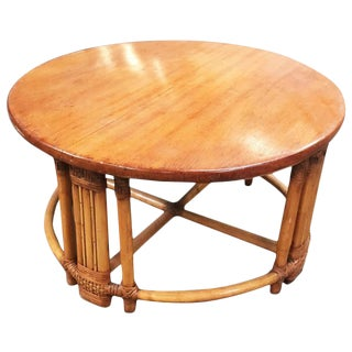 Restored Round Rattan Coffee Table with Mahogany Top For Sale