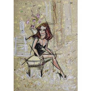 Contemporary Color Pencil Portrait of Claudia Cardinale by Shirin Godhrawala For Sale