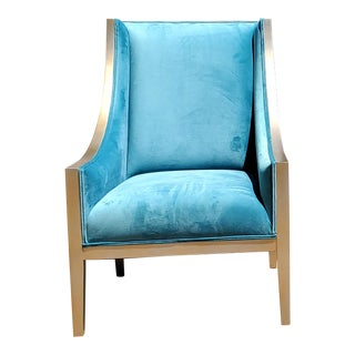 Henredon Furniture Swooping Silver Accent Chair in Aqua Velvet For Sale