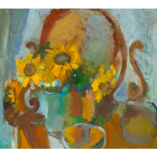 """""""Sunflowers and Curio"""" by Amy Griffith Colley. This is a print (giclee) of the original painting, made to order and..."""