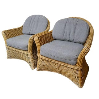 1980s Vintage Curved Back Wicker   Rattan Chairs- a Pair For Sale