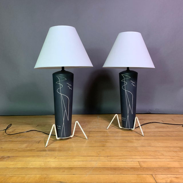 Pair 1950s Glazed Ceramic Sgraffito Lamps For Sale - Image 10 of 10