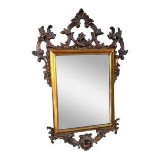 20th Century French Carved Oak Gold Gilt Frame Wall Mirror For Sale