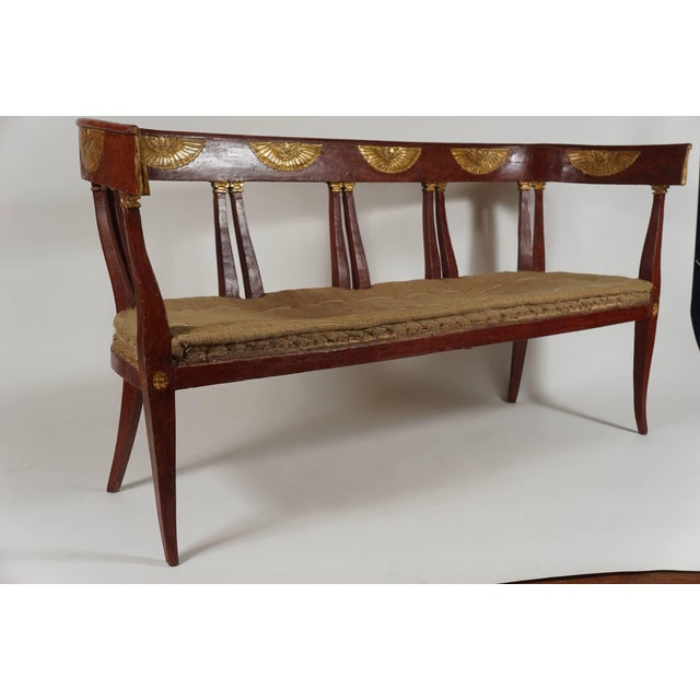 Italian 'Egyptian' Style Parcel Gilt and Painted Settee, Circa 1805 For Sale - Image 4 of 11