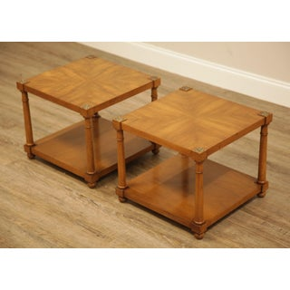 Henredon Vintage French Empire Style Walnut Pair Square Side Tables Preview