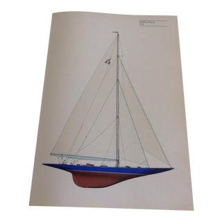 """Vintage """"Endeavour"""" 1934 Sailboat Print"""