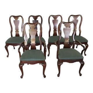 1970's Vintage Thomasville Queen Anne Dining Chairs- Set of 6 For Sale