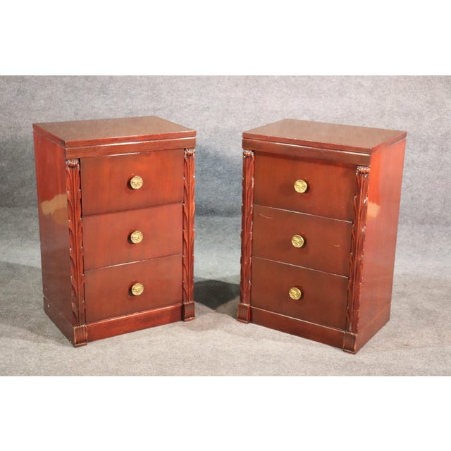 Pair of John Stuart Hollywood Regency Mahogany Nightstands Night Tables For Sale - Image 10 of 10