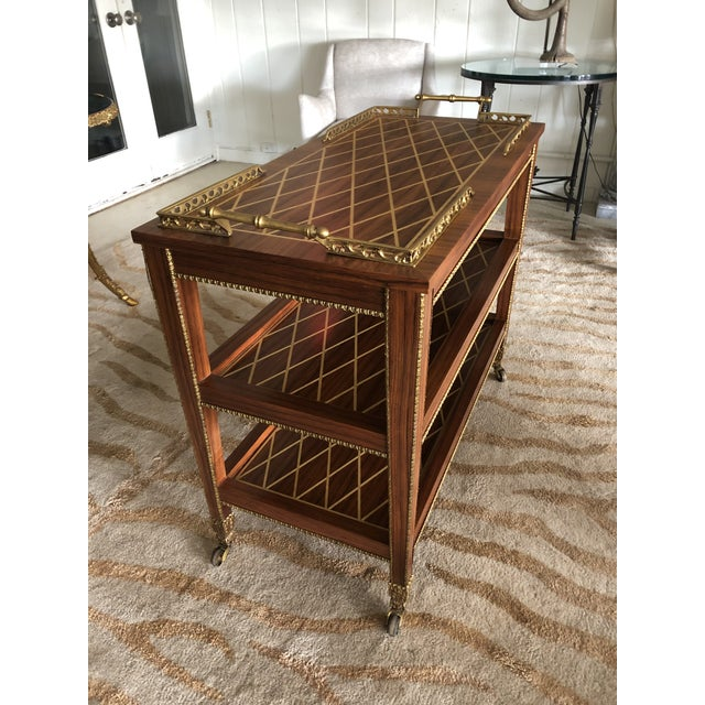 Italian Mixed Wood Inlay Bar Cart For Sale In Philadelphia - Image 6 of 13