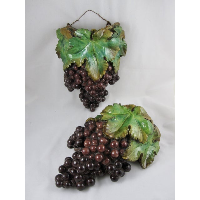 Plaster of Paris Grape Cluster Wall Pockets - A Pair - Image 9 of 11
