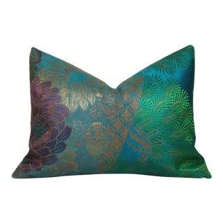 Antique Japanese Lotus Flower & Pine Branch Obi Lumbar Pillow Cover For Sale