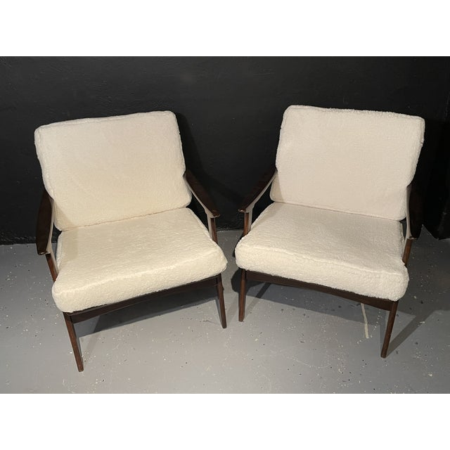 Mid-Century Modern Mid-Century Modern Lounge Chairs/ Style of Ib Kofod-Larsen, Plush Sherpa - a Pair For Sale - Image 3 of 11