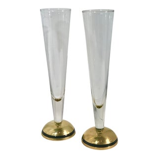 Mid-Century Modern Hand Crafted Art Brass Base Champagne Glasses - a Pair For Sale