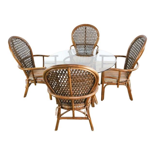 Vintage McGuire Rattan Dining Set - 5 Pieces For Sale