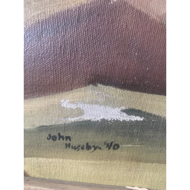 Green 1940s Abstract Forest Landscape Oil Painting, Framed For Sale - Image 8 of 9