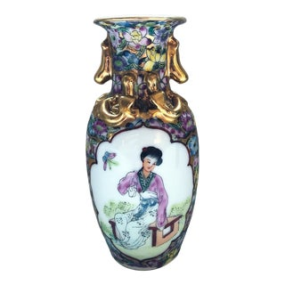 1800s Antique Chinese Famille Rose Medallion Vase For Sale