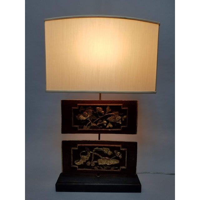Carved Chinese Architectural Panel Lamp With Shade For Sale - Image 10 of 11