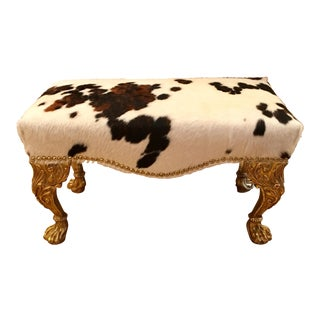 Randy Esada Designs Giltwood & Cowhide Designer Bench For Sale