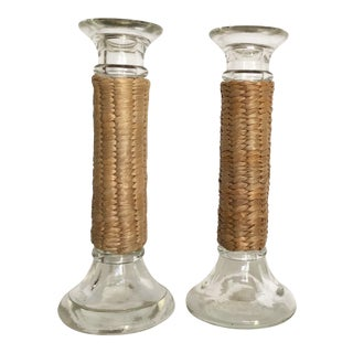 Vintage Glass Raffia Wrapped Candlesticks- a Pair For Sale