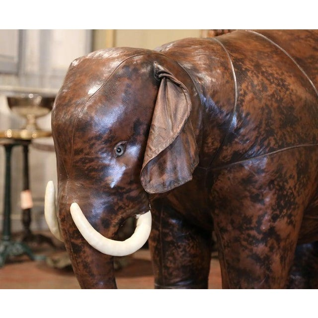 Vintage Life Size Patinated Brown Leather Calf Baby Elephant For Sale - Image 4 of 9
