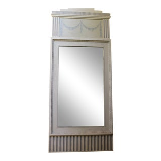 Figurative Swedish Style Dove Gray Trumeaux Wall Mirror For Sale