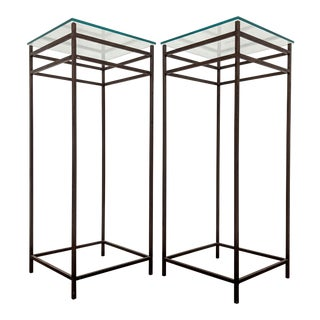 Tall Iron & Glass Modernist Plant Stands, a Pair For Sale