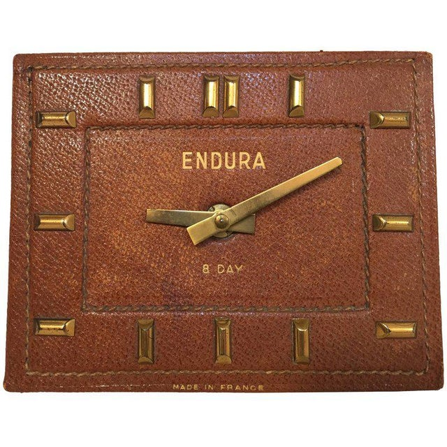 Leather and Brass Bauhaus French Endura Desk Clock Jacques Adnet Style For Sale - Image 12 of 12