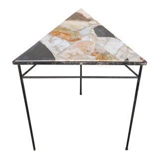 1970s Terrazzo & Iron Side Table For Sale